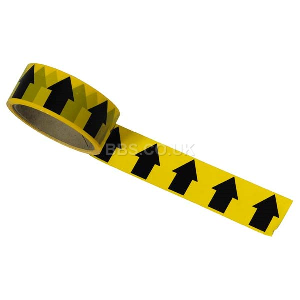Black/Yellow Arrow Direction Tape - 33m