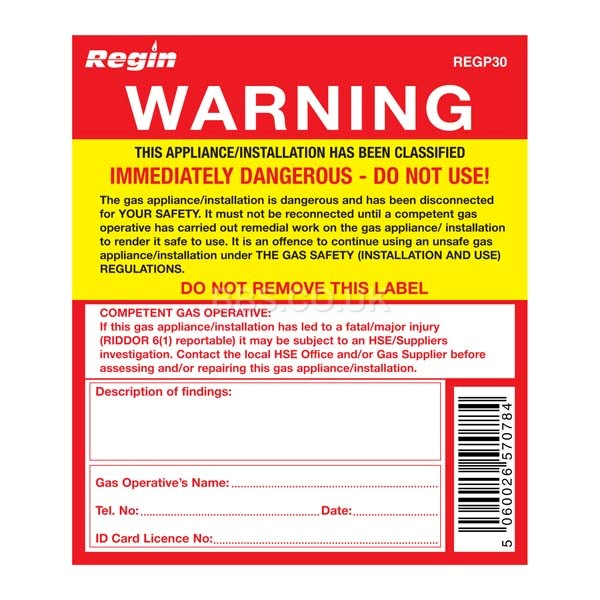 Warning Appliance Unsafe Sticker (8)