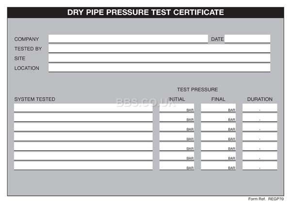dry pipe pressure test certificates. Black Bedroom Furniture Sets. Home Design Ideas